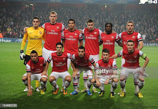 The Arsenal team line up before the UEFA Champions League Group B match between Arsenal FC and FC Schalke 04 at Emirates Stadium on October 24 2012...