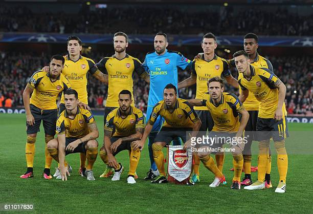 The Arsenal team line up before the UEFA Champions League match between Arsenal FC and FC Basel 1893 at Emirates Stadium on September 28 2016 in...