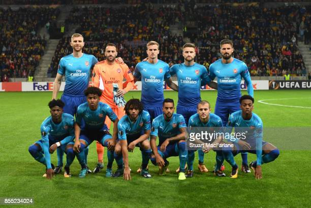 The Arsenal team line up before the UEFA Europa League group H match between BATE Borisov and Arsenal FC at BorisovArena on September 28 2017 in...