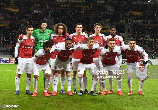 The Arsenal team line up before the UEFA Europa League Round of 32 First Leg match between BATE Borisov and Arsenal at on February 14 2019 in Barysaw...