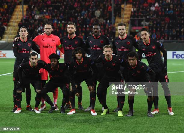 The Arsenal team line up before UEFA Europa League Round of 32 match between Ostersunds FK and Arsenal at the Jamtkraft Arena on February 15 2018 in...
