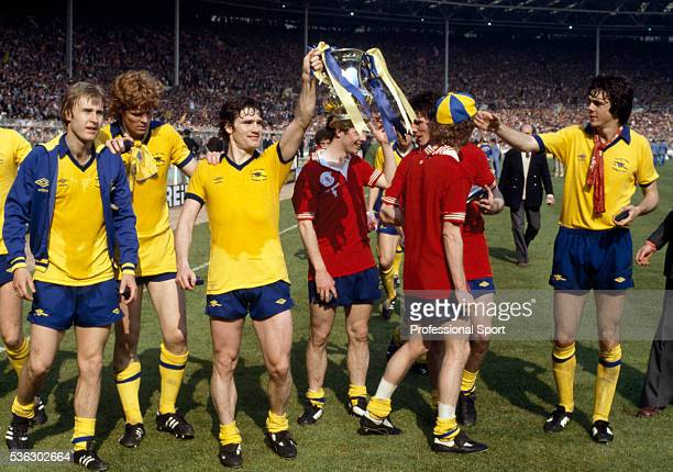 The Arsenal team parade the FA Cup after their 32 victory over Manchester United in the FA Cup Final at Wembley Stadium in London 12th May 1979...