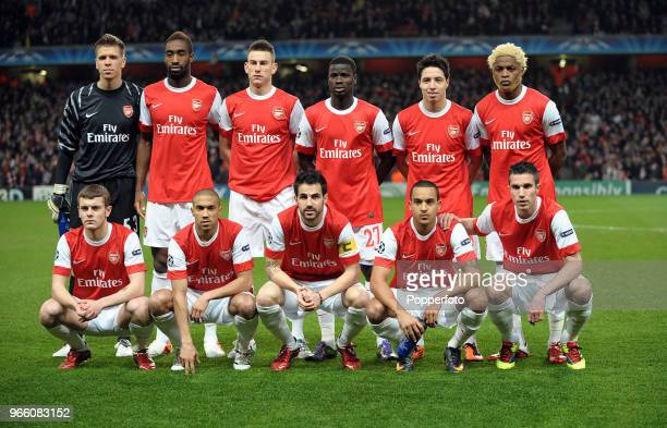 The Arsenal team pose for a photograph Wojciech Szczesny Johan Djourou Laurent Koscielny Emmanuel Eboue Samir Nasri Alex Song Jack Wilshere Gael...