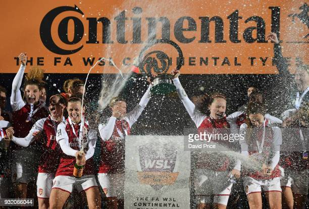 The Arsenal Women celebrate winning the Continenal Cup Trophy after the match between Arsenal Women and Manchester City Ladies at Adams Park on March...