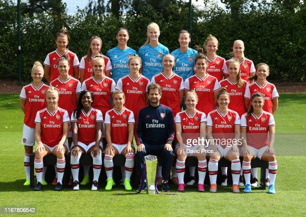 The Arsenal Women team group back row Katrine Veje Lisa Evans Manuela Zinsberger Fran Stenson Pauline PeyraudMagnin Tabea Kemme Beth Mead middle row...
