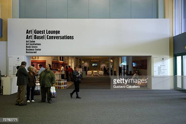 The Art Basel Lounge entrance welcomes visitors at Art Basel Miami December 10 2006 in Miami Beach Florida