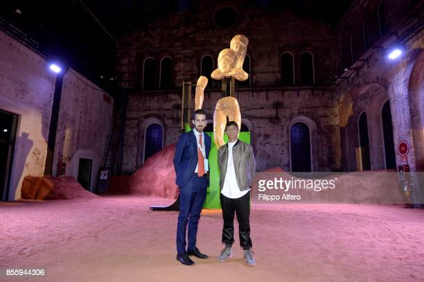 The art director of OGR Nicola Ricciardi togheter the artist Patrick Tuttofuoco during the OGR Institutional Night on September 29 2017 in Turin Italy