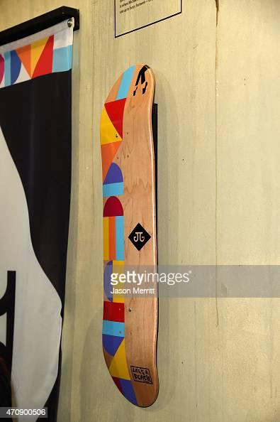 The Art Dump custom skate decks on display at Oakley In Residence