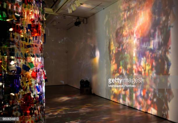 The art environment Blowing in the Wind by Rachel Hayes with light design by Angelo Jelmini at Spazio Missoni in Brera District for the Design Week...