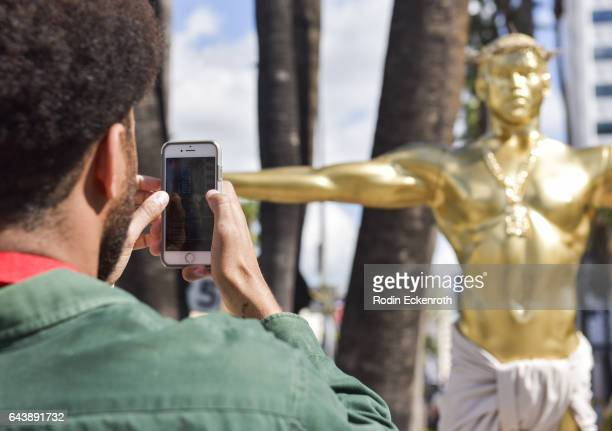 The art installation False Idol by artist Plastic Jesus depicting Kanye West as an Oscar statue is seen February 22 2017 in Hollywood California