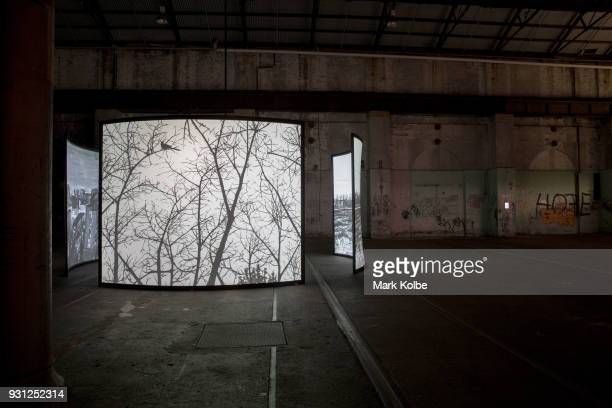 The art installation 'The Views' by artist Chen Shaoxiong which is part of the 31st Biennale of Sydney is seen at Carriage Works on March 13 2018 in...
