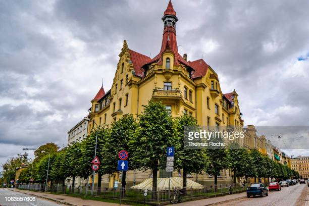 the art nouveau corner in riga - art nouveau stock pictures, royalty-free photos & images