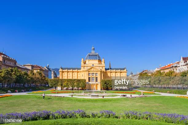 the art pavilion and king tomislav square in downtown zagreb croatia - zagreb stock pictures, royalty-free photos & images