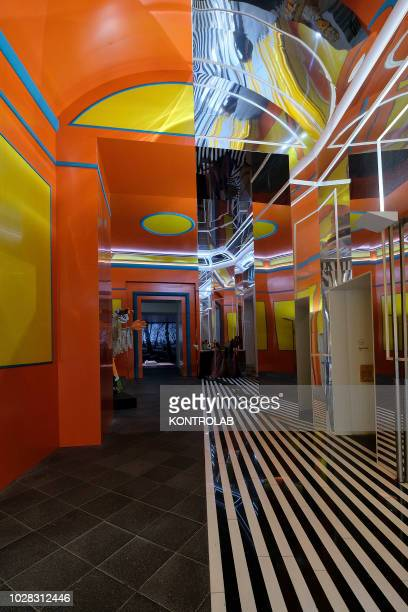 The art work of french artist Daniel Buren Axer/Dèsaxer in the hall of the MADRE Museum in Naples The MADRE Museum is one of best important and...