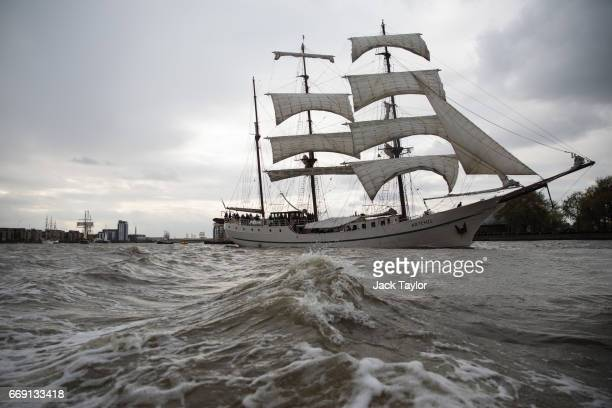 The Artemis 'Tall Ship' sails along the River Thames during the 'Parade of Sails' on the last day of the Royal Greenwich Tall Ships Festival on April...