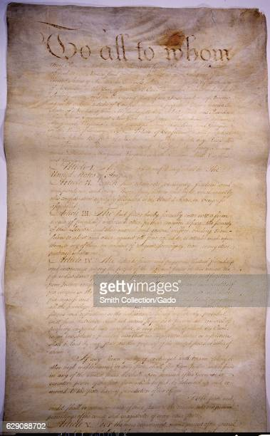 The Articles of Confederation binding the thirteen former colonies as a league of sovereign states 1781 Image courtesy National Archives