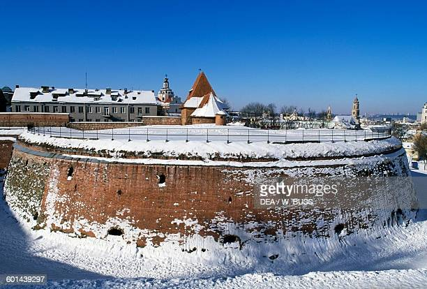 The Artillery bastion under the snow Vilnius old town Lithuania 16th century