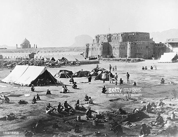 The artillery camped near the bastions of the citadel of Kandahar 1880 Second AngloAfghan War Afghanistan 19th century