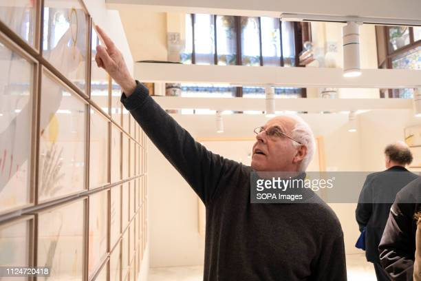 The artist Antoni Llena is seen during the presentation of his new exhibition in the rooms of the Palau de la Música Catalana. The historic catalan...