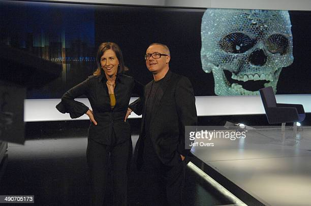 The artist Damien Hirst appearing on the BBC programme Newsnight Review with Kirsty Wark, recorded on and transmitted on . He is seen here sitting in...