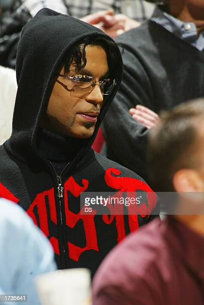 The artist formerly known as Prince watches the game between the Minnesota Timberwolves and the Toronto Raptors on January 20 2003 at the Target...
