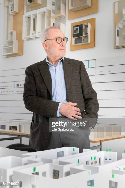 The artist Gerhard Richter in his Cologne studio In front of him on the table and on the wall are models of his last exhibition rooms on August 24...