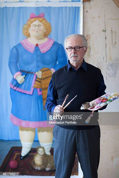 The artist painter and sculptor Fernando Botero poses in his studio on the eve of his eightieth birthday Monte Carlo March 15th 2012
