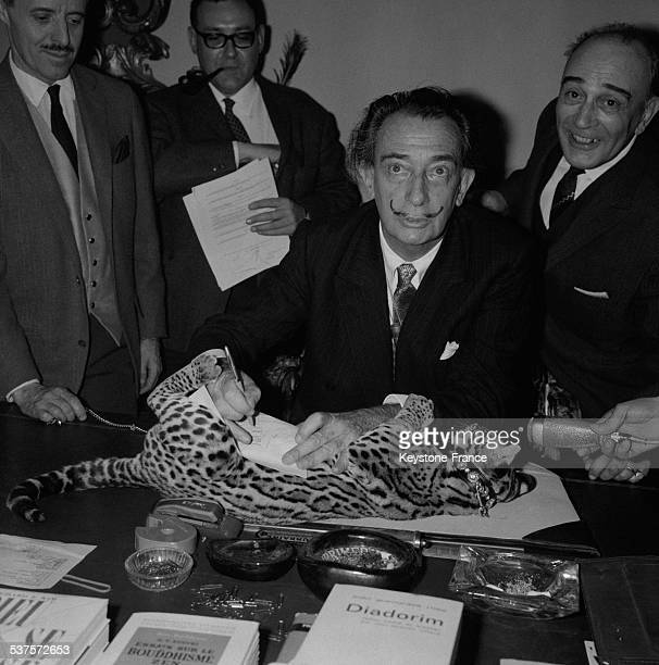 The artist Salvador Dali signed his edition contract for his next book on his 14 months' young ocelot called Baby on May 13 1965
