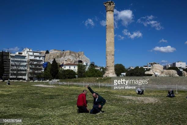 The artistic group Prinz Gholam presents the performance 'My sweet country' as part of the Documenta 14 in front of the Temple of Olympian Zeus in...
