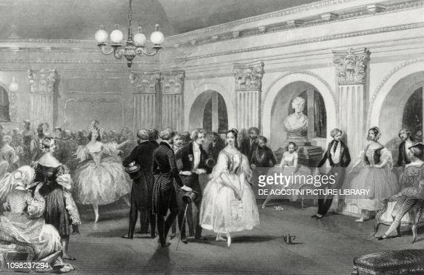 The artists' foyer at the Opera Peletier of Paris 1842 ca engraving France 19th century