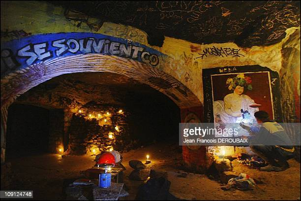 The Artists Of The Paris Catacombs On November 1 2004 In Paris France Salle Du Cellier Below The Xivth Arrondissement Reproduction Of CaravaggioS...