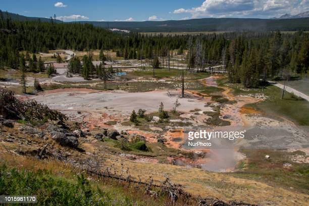 The Artists' Paintpots is seen south of the Norris Junction in Yellowstone National Park in Wyoming United States on July 12 2018 It is a small...