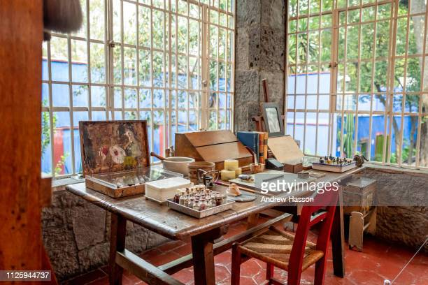 The artist's studio inside the Casa Azul or Blue House in Mexico City the museum dedicated to Frida Kahlo on January 17 2019 in Mexico City Mexico