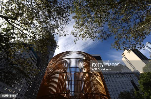 The artwork of Chinese Artist Ai Weiwei is seen during a press preview of his art installation exploring migration entitled 'Good Fences Make Good...