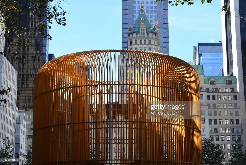 The artwork of Chinese Artist Ai Weiwei is seen during a press preview of his art installation exploring migration entitled 'Good Fences Make Good Neighbors' at Doris C. Freedman Plaza in Central Park, New York City, on October 10, 2017 ahead of October 12's public opening of his multi-venue exhibition inspired by the international migration crisis. Spread across multiple New York boroughs, the multi-site project transforms metal wire security fences into artistic symbols by installing them in varying, site-specific forms at locations across the city. /
