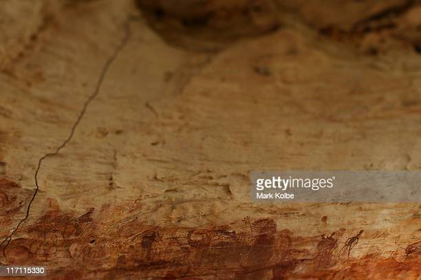 The artwork of Giant Horse Aboriginal rock art galleries in the Quinkan Country is seen on June 19 2011 in Laura Australia The ancient aboriginal...