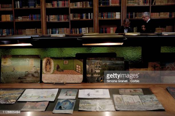 The artwork on display during the restitution ceremony of 594 ex voto paintings unlawfully removed from the Mexican cultural heritage on March 6 2019...