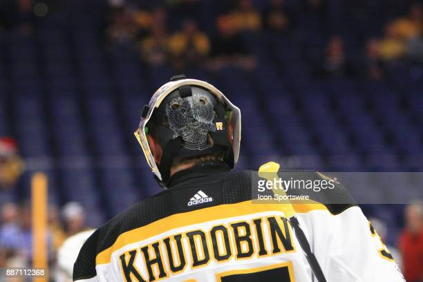 The artwork on the back of the mask of Boston Bruins goalie Anton Khudobin is shown prior to the NHL game between the Nashville Predators and the...