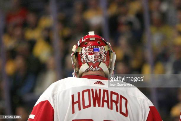 The artwork on the back of the mask of Detroit Red Wings goalie Jimmy Howard is shown during the NHL game between the Nashville Predators and Detroit...