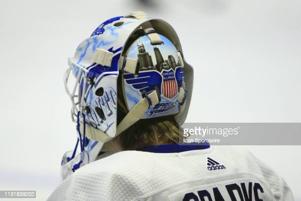 The artwork on the back of the mask of Toronto Maple Leafs goalie Garret Sparks is shown prior to the NHL game between the Nashville Predators and...