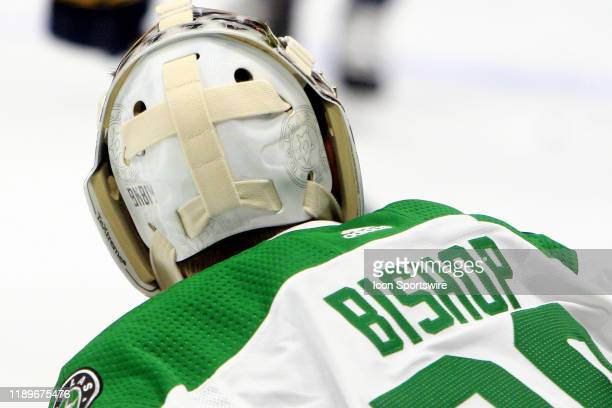 The artwork on the backplate of the mask of Dallas Stars goalie Ben Bishop is shown prior to the NHL game between the Nashville Predators and Dallas...