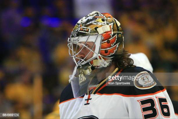The artwork on the mask of Anaheim Ducks goalie John Gibson is shown prior to Game Four of the Western Conference Final between the Nashville...