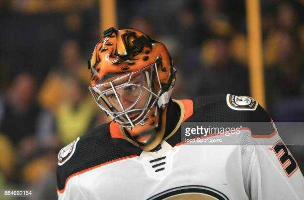 The artwork on the mask of Anaheim Ducks goalie Ryan Miller is shown during the NHL game between the Nashville Predators and the Anaheim Ducks held...