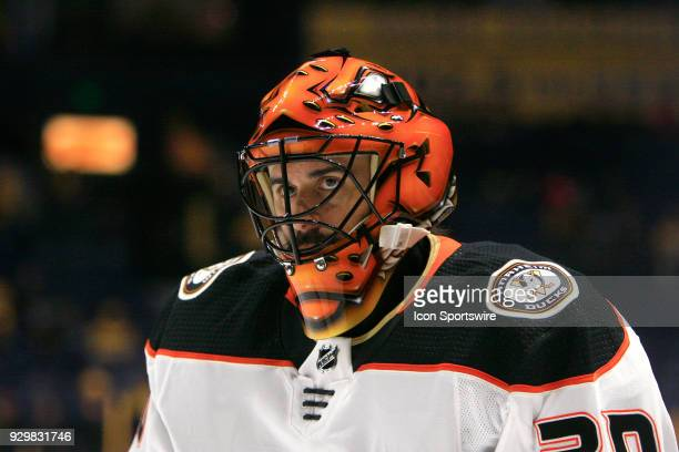 The artwork on the mask of Anaheim Ducks goalie Ryan Miller is shown prior to the NHL game between the Nashville Predators and Anaheim Ducks held on...