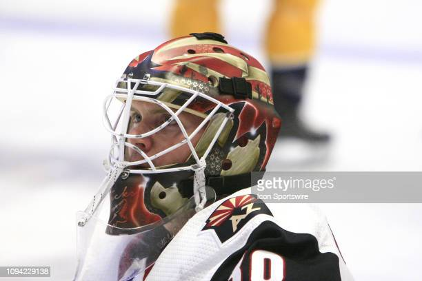 The artwork on the mask of Arizona Coyotes goalie Calvin Pickard is shown prior to the NHL game between the Nashville Predators and Arizona Coyotes...