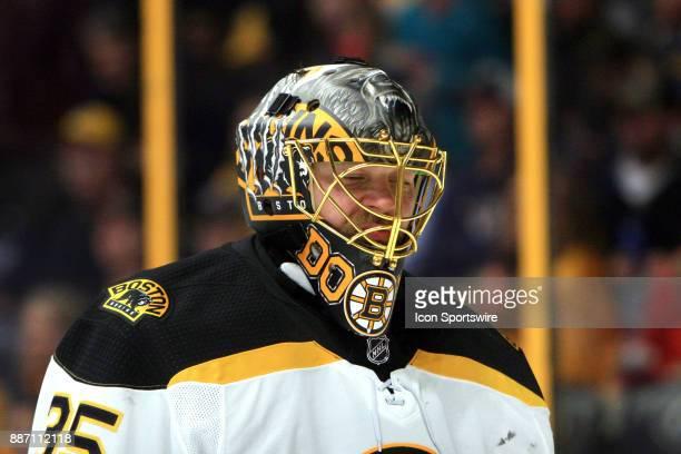 The artwork on the mask of Boston Bruins goalie Anton Khudobin is shown during the NHL game between the Nashville Predators and the Boston Bruins...