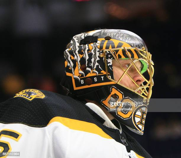The artwork on the mask of Boston Bruins goalie Anton Khudobin is shown prior to the NHL game between the Nashville Predators and the Boston Bruins...