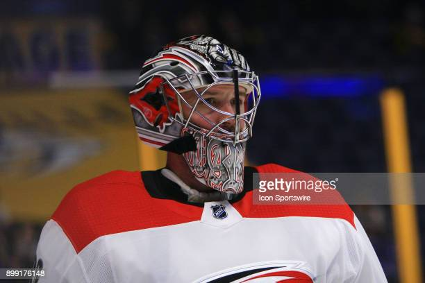 The artwork on the mask of Carolina Hurricanes goalie Cam Ward is shown prior to the NHL game between the Nashville Predators and the Carolina...