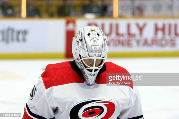 The artwork on the mask of Carolina Hurricanes goalie Curtis McElhinney is shown prior to the NHL game between the Nashville Predators and Carolina...
