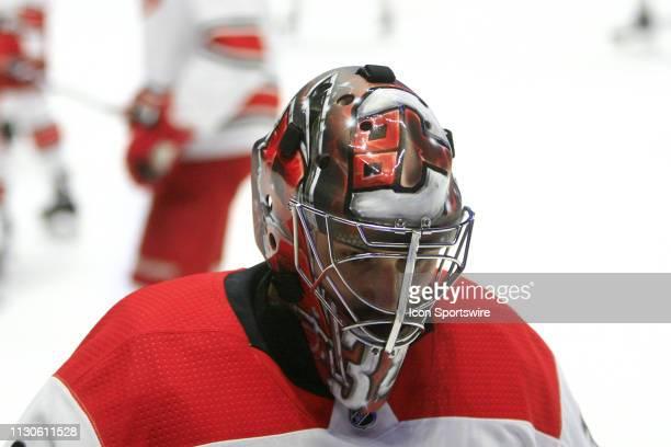 The artwork on the mask of Carolina Hurricanes goalie Petr Mrazek is shown prior to the NHL game between the Nashville Predators and Carolina...